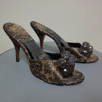 50s Brocade Boudoir Mules, Spring-O-Lator Black, Metallic Gold Slippers, Big Bead Cluster, 7 1/2