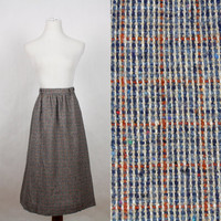 Vintage 40s 50s Tweed Wool Skirt Full A Line High Waist Circle Gray Plaid 1940s Retro Womens sz XS