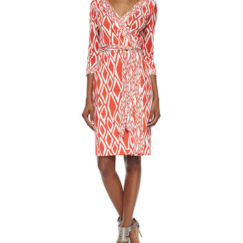 Women's New Julian Ikat-Print Wrap Dress - Diane von Furstenberg - Ikat stamp coral