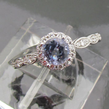 Engagement Ring Round Light Blue Sapphire Set by pristinejewelry