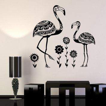 Vinyl Wall Decal Birds Flamingos African Animals Nature Flowers Zoo Stickers Unique Gift (754ig)