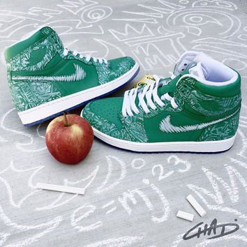 School Daze Chalkboards - Custom Painted Nike Jordan Laser 1's