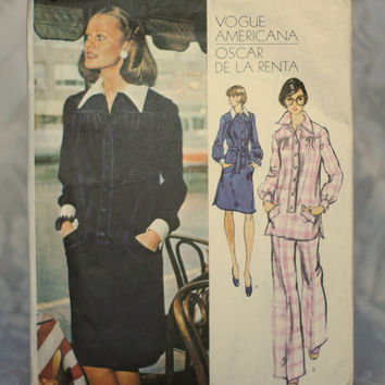 Vogue Americana Dress, Tunic & Pants Vintage Sewing Pattern 2889 Oscar De La Renta Retro Printed Pattern Size 10 Small