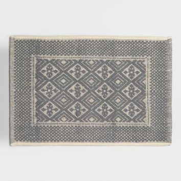 Frost Gray Contrast Jacquard Bath Mat