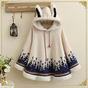 Autumn Winter Women Japanese Style Mori Girl Cute Cartoon Rabbit Ear Loose Hooded Cape Hoodies Cotton Casual Cloak Outerwear
