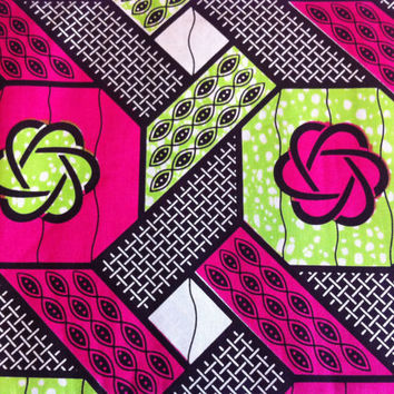 Dutch African Wax Print Fabric by the HALF YARD. Hot Pink, Lime Green, Black, and White--Geometric Floral