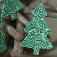 Mint Ceramic Christmas Ornaments Lace Ceramic  Winter Home Decoration Gift Set of 3