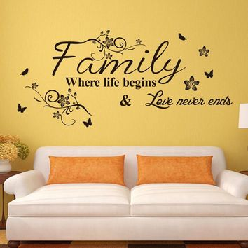 Family Where Life Begins  Love Never Ends Removable Wall Stickers
