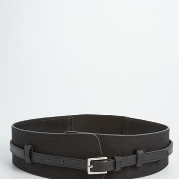 faux leather corset belt with stretch