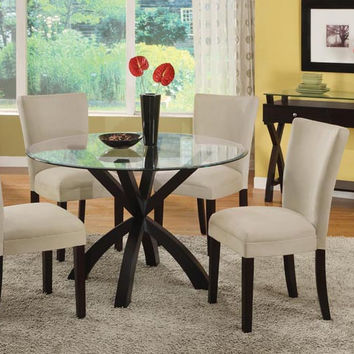 "Dark Espresso 48"" Round Spider Base Dining Table/ 10Mm Glass"