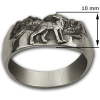 Howling Wolf Ring in Sterling Silver, Moonstone-Jewelry.com
