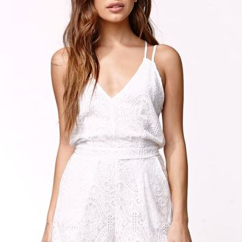Kendall & Kylie Strappy Lace Knit Romper - Womens Dress - White