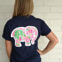 Lilly Inspired Elephant Monogram T-Shirt