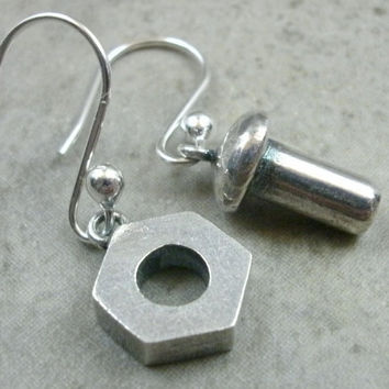 Nuts & Bolts Earrings in Fine Silver - Industrial Jewelry - Dangle Earings - Nut N Bolt Jewellery - Pierced Ear - Silver Earrings -Different