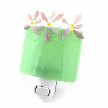 Night Light Plug In, Green with Pink Flowers, Art Glass