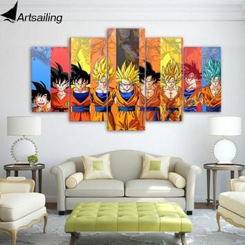 5 piece canvas art dragon ball Z poster Goku modeling canvas painting wall pictures for living room modular ArtSailing up-1480B