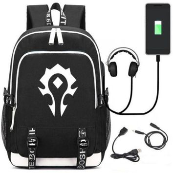 Anime Backpack School World of Warcraft Game Backpack Bag Rucksack w/ USB Charging Port and Lock / Headphone kawaii cute Book SchoolBag Laptop Gifts AT_60_4