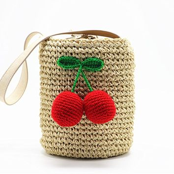 Cherry  Pompon Summer Style Cylinders Handbags Bohemian Boho Indian Hair Straw Bag Thai Woven Beach Bag
