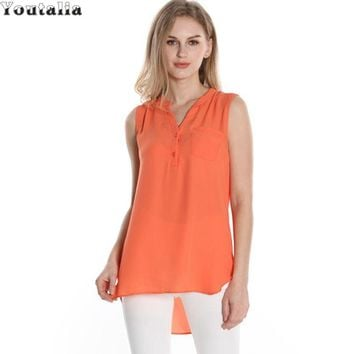 Summer Style High Low Hem Sleeveless Chiffon Tops Casual Women Tunic Top Button V-Neck Female Tank Women Vest Solid Tee