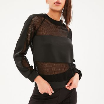 Missguided - Black Fishnet Scuba Sweatshirt