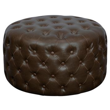 Santee Bonded Leather Round Tufted Ottoman VINTAGE BROWN