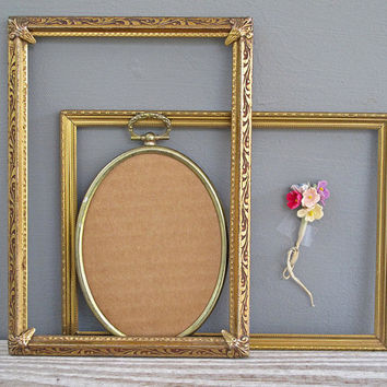 collection of 3 vintage metal frames by KatyBitsandPieces on Etsy