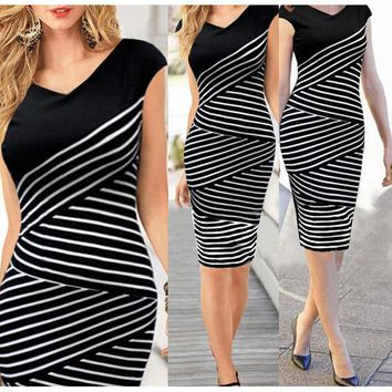 DCK9M2 Summer Fashion 2016 Girl  women dress Office Formal Bodycon pencil Midi Party Bandage Dress sexy women plus size dress vestidos