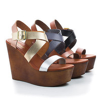 Woobery08 Black Multi By Bamboo, Multi Strappy Faux Wooden Platform High Wedge Heels, Women Shoe