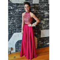 Two Pieces Prom Dress Evening Party Gown pst0806