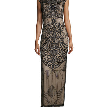 Cap-Sleeve Embroidered & Sequined Column Gown, Size: