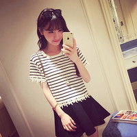 Lace hook flower striped trim short T-shirt
