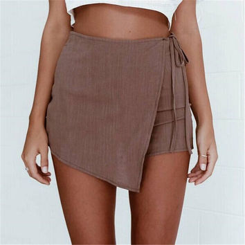 Irregular Crossover Bandage Thin Hot Shorts