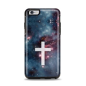 The Vector White Cross v2 over Red Nebula Apple iPhone 6 Plus Otterbox Symmetry Case Skin Set