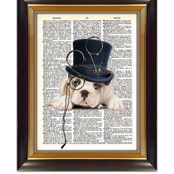 "Dictionary Page Art - DIY Digital Art Print - Steampunk Dog on a Vintage Dictionary Page - CP-320 - 8.5""x11"" - Instant Download"