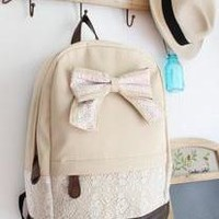 Unique Cream Red Floral Bow Lace Backpack