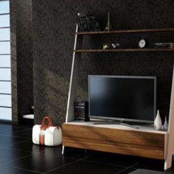 LADDER TV Stand Entertainment Unit walnut white