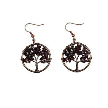 Garnet Tree of Life  Earrings , Copper  Wire  Wrapped , Genuine  Garnet Gemstones