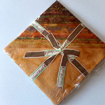 """Island Batik Cotton Fabric Apple Cider 10""""x10"""" Squares Stack 40 Pieces in 20 Different Designs in Shades of Brown"""
