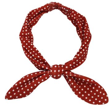 60's Lovely Red Polka dor Campus Elastic Headband