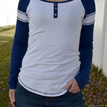 Collegiate Striped Henley - Navy