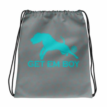 GETEMBOY® DRAWSTRING BACKPACK GB BEEHIVE TURQUOISE & GRAY
