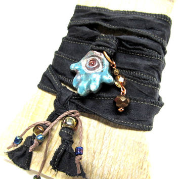 Sari Silk Wrap Bracelet, Eco Friendly Raku Ceramic The Evil Eye Hamsa Hand of Fatima Charm Beadwork Good Luck Jewelry Yoga Jewlery
