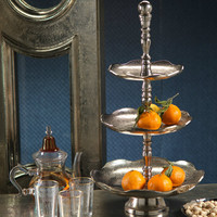 Kasbah Round Scalloped Three Tier Serving Tray