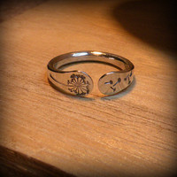 Dandelion ring, Dandelion jewelry, Sterling silver