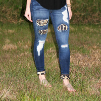 Distressed Leopard Print Jeans