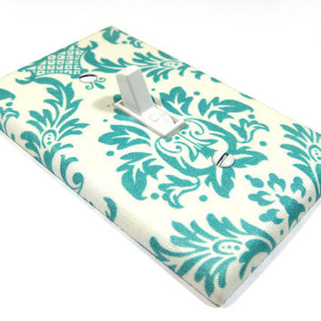 Light Switch Cover Teal Blue and White Damask Shabby Chic Home Decor Switchplate Switch Plate 892