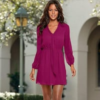 Fuchsia Chiffon Long Sleeve Dress
