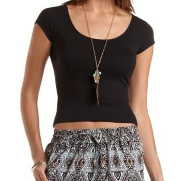 Zip-Back Cotton Crop Top by Charlotte Russe