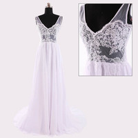 2015 hot white see through backless prom dress,sweep train lace chiffon evening dress, empire bridesmaid dress, long formal dress ,RS1037