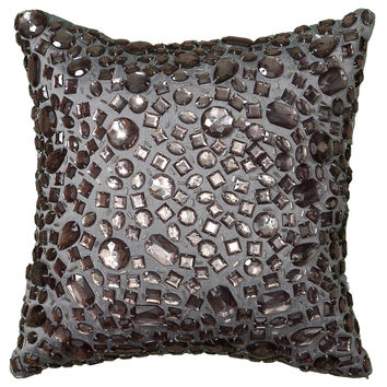 "Applique of Large Crystal Beads Silver Pillow Cover (12"" x 12"")"